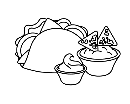 taco nachos cheese and sauce fast food vector illustration Illustration