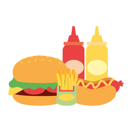 burger hot dog french fries and sauces fast food vector illustration Stock Vector - 119485294