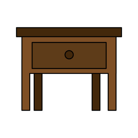 bedside table in wooden isolated icon vector illustration design