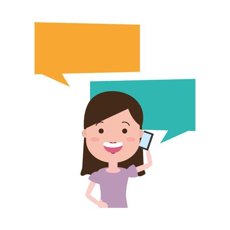 woman with smartphone and speech bubble character vector illustration desing Vektoros illusztráció