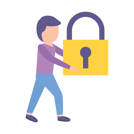 man holding padlock security white background vector illustration