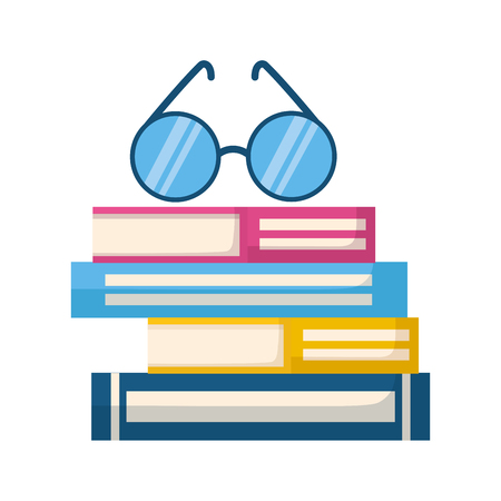 stack of books with lenses isolated icon vector illustration design