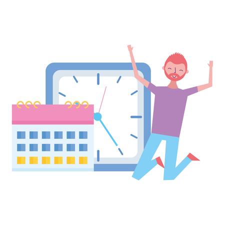 happy man clock calendar time work vector illustration