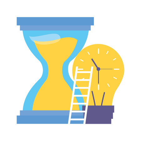 work clock stairs bulb creativity vector illustration Banque d'images - 119536977
