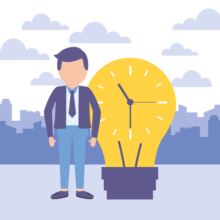 businessman with bulb clock time work vector illustration Illustration
