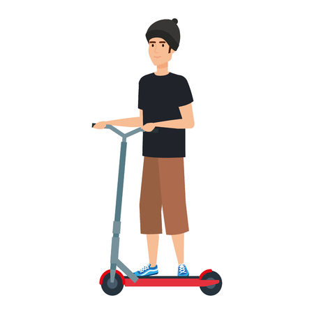 young man in folding scooter vector illustration design Imagens - 124245503