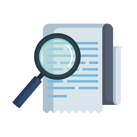 tax documents with magnifying glass vector illustartion design Illustration