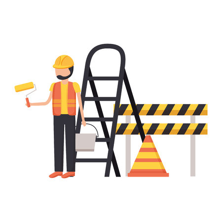 worker roller paint barricade stairs tool construction vector illustration Foto de archivo - 124245545