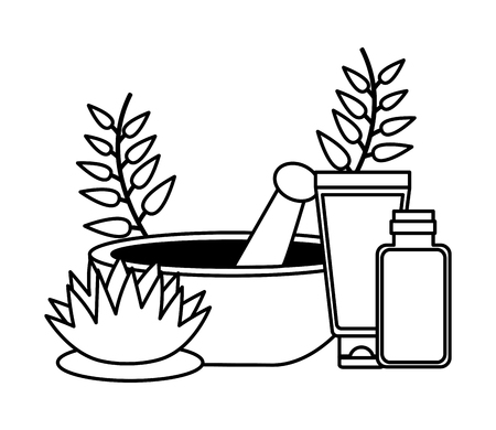 bowl organic product spa treatment therapy vector illustration Illustration