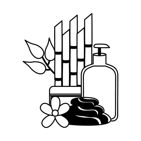 gel cream stones bamboo flower spa treatment therapy vector illustration