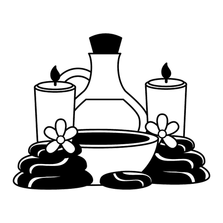 bowl candles oil bottle flowes spa treatment vector illustration