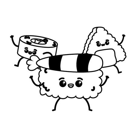 kawaii sushi rice fast food cartoon vector illustration