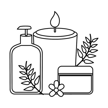 oil bottle cream candle leaves spa treatment therapy vector illustration