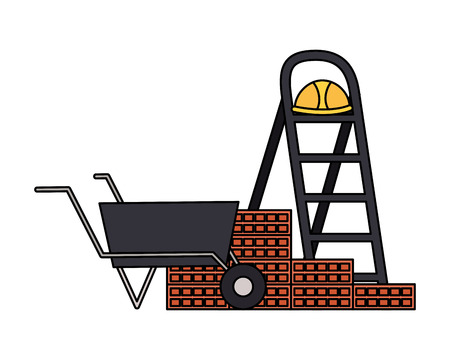 stairs helmet wheelbarrow wall tool construction vector illustration