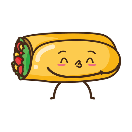kawaii burrito fast food cartoon vector illustration
