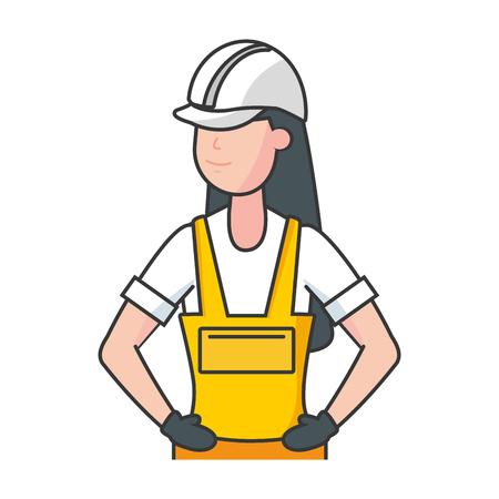 glückliche arbeitstag arbeiterfrau vektorillustration