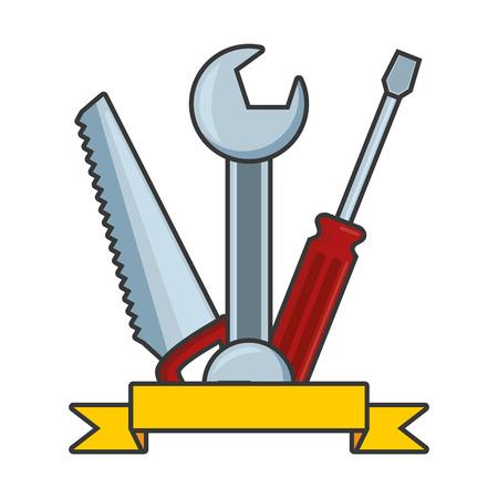 wrench screwdriver saw tool construction vector illustration