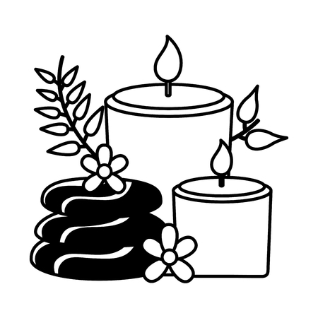 candles hot stones flowers spa treatment therapy vector illustration Stock Vector - 124245725