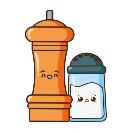 kawaii sale e pepe cibo cartone animato illustrazione vettoriale Vettoriali