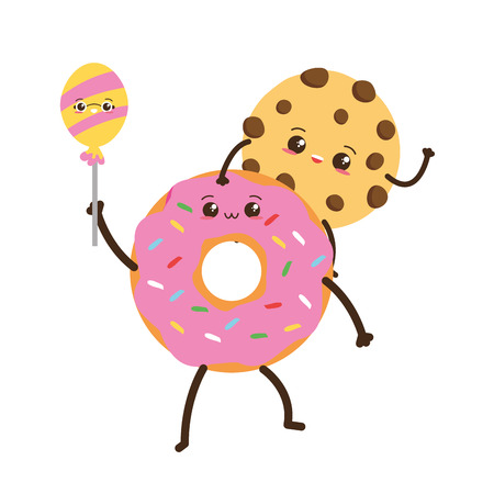 kawaii cookie and donut fast food cartoon vector illustration