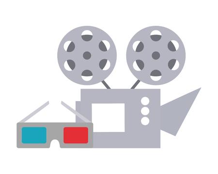 cinema projector and cinema glasses vector illustration design Foto de archivo - 124247247