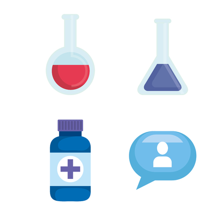 set erlenmeyer flask diagnosis with pills and chat vector illustration