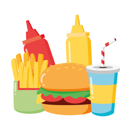 fast food burger french fries soda sauces set vector illustration