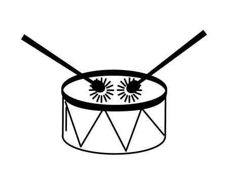 music drum and sticks on white background vector illustration Stock Illustratie