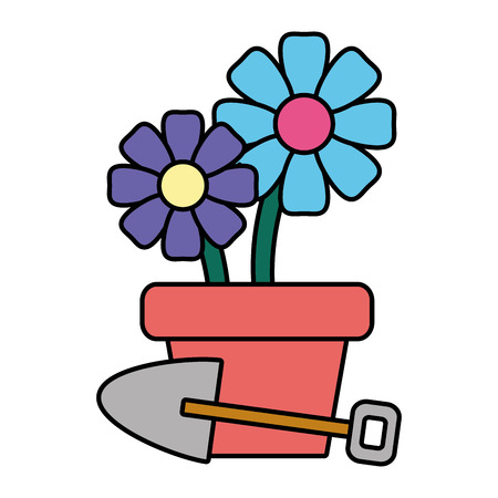 potted flowers shovel plant gardening vector illustration