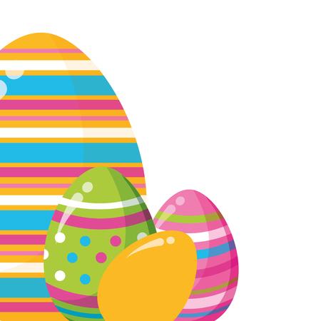 happy easter eggs decoration ornament vector illustration