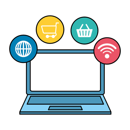 laptop computer with ecommerce icons vector illustration design