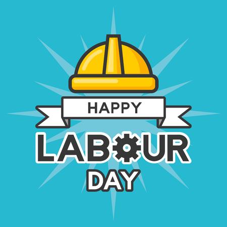 happy labour day helmet poster vector illustration Illustration