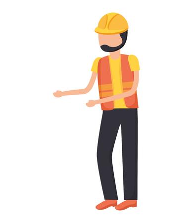 worker construction with helmet and vest vector illustration Illusztráció