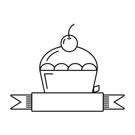 sweet cupcake dessert ribbon emblem vector illustration