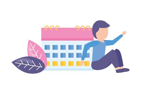 man calendar reminder planning date vector illustration Illustration