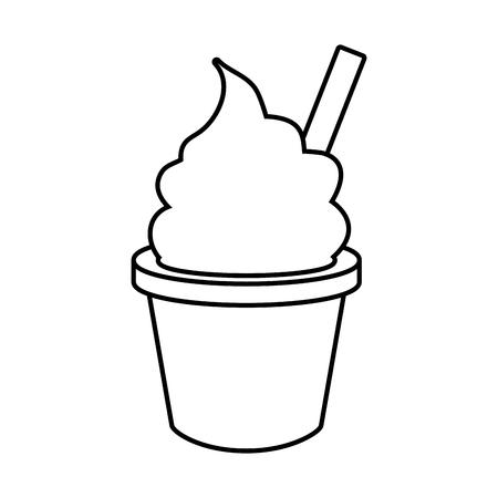 gelato in tazza fast food sfondo bianco illustrazione vettoriale Vettoriali