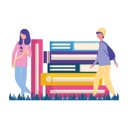 man and woman books stacked learning vector illustration
