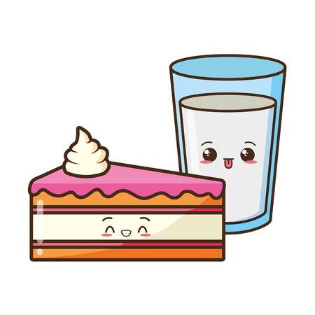 kawaii cake and milk food cartoon vector illustration