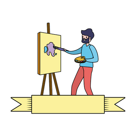 man painting a picture in the easel - my hobby vector illustration