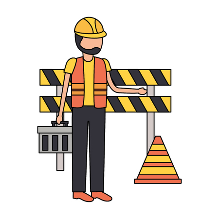 worker toolbox barricade tool construction vector illustration Vectores