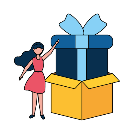 woman online shopping cardboard box and gift vector illustration Stock Vector - 124247514