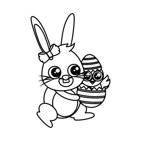 beautiful rabbit with chick born easter character vector illustration design Archivio Fotografico - 119563923