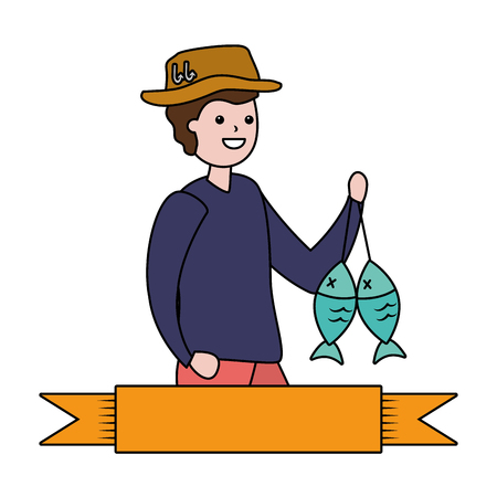 man with fishing holding fishes hobby vector illustration