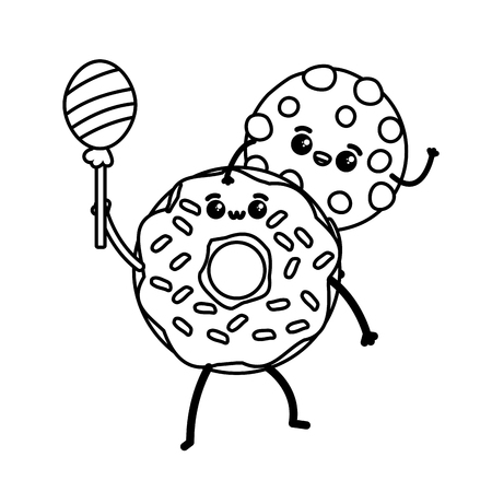 cookie and donut fast food cartoon vector illustration