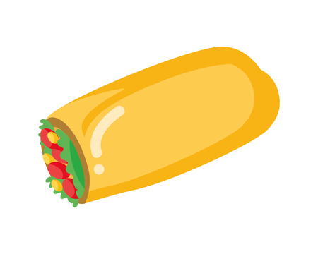burrito fast food on white background vector illustration