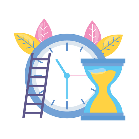 work clock time hourglass stairs vector illustration