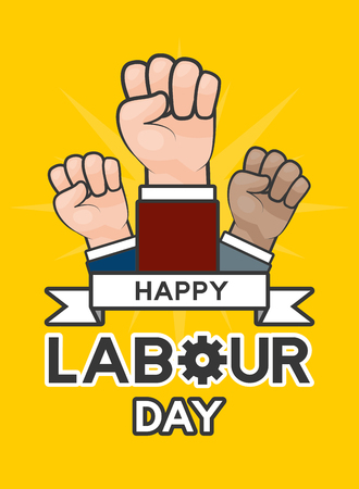 raised hands happy labour day vector illustration Illustration