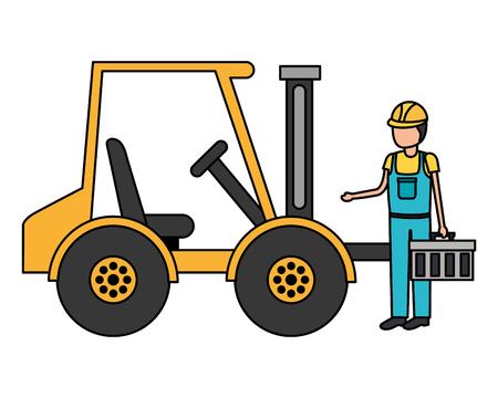 worker construction toolbox and forklift truck vector illustration Illustration
