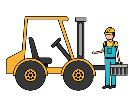 worker construction toolbox and forklift truck vector illustration Çizim