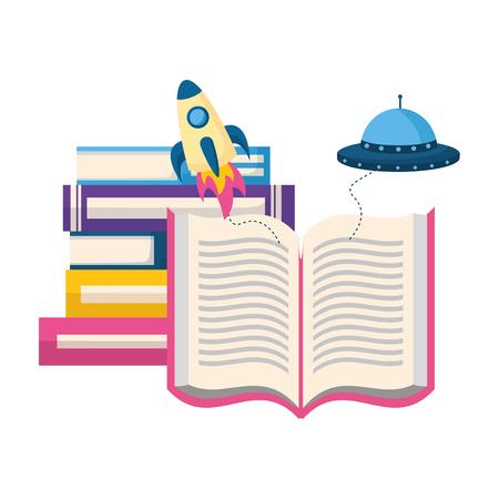world book day fantasy fiction travel vector illustration